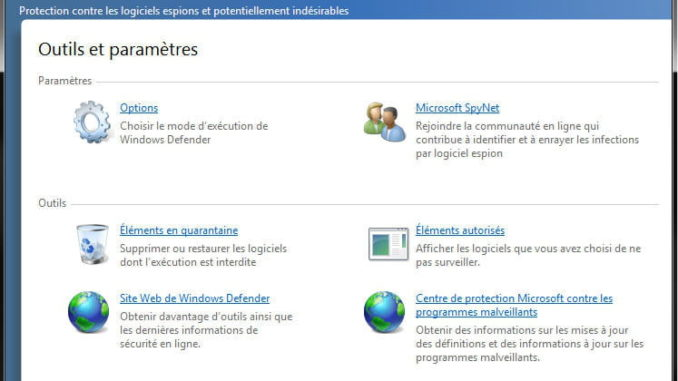 Windows Defender : présentation de l'interface