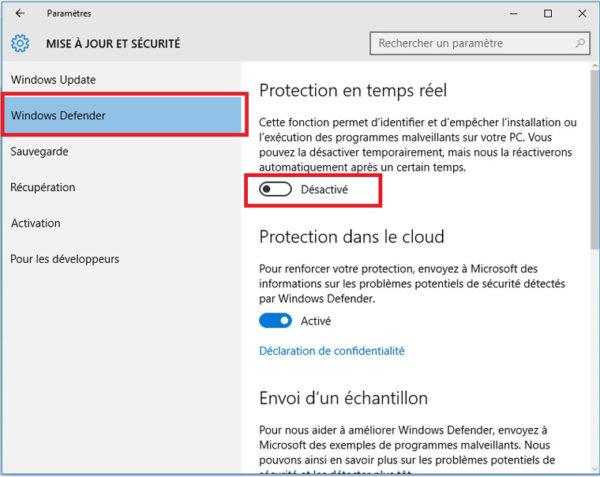 S'assurer que Windows Defender est bien activé