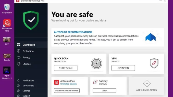 Interface Bitdefender