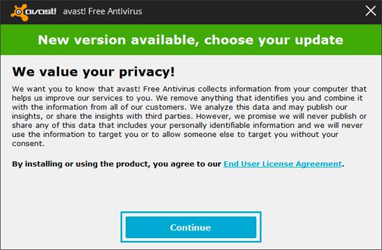 Mettre à jour Avast Free antivirus ?